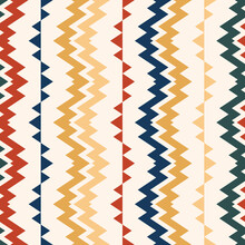Seamless Vector Ethnic Traditional Pattern. Tribal Illustration Zigzag And Colorful Striped. The Background Is Used As A Design For Wallpaper, Fabric, Carpet, Cover, Packaging, Plaid, Textiles.
