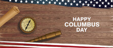 Happy Columbus Day National Usa Holiday Greeting Card With Compass, Binoculars And American Flag Vector Illustration