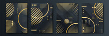Abstract Black And Gold Cover Template Set. Modern Background With Geometric Shape And Golden Element Combination