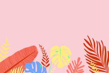 Palm Leaves Tropical Garden Vector Plants Web Design Mockup Bottom Frame Illustration