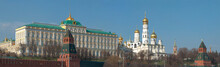 The Grand Kremlin Palace And The Temples Of The Moscow Kremlin In The April Panorama. Moscow, Russia