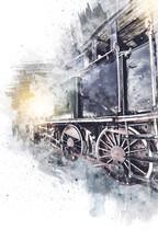 Small Locomotive, Steam, Photography, Rusty, Wagon, Train, Art, Illustration, Drawing, Sketch, Antique, Retro, Vintage.