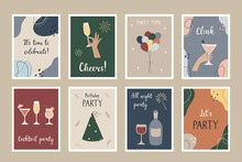 A Set Of Party Postcards.  Templates For Party Invitations, Greeting Cards, Posters. Hand-drawn Shapes And Lines.  Vector Illustration