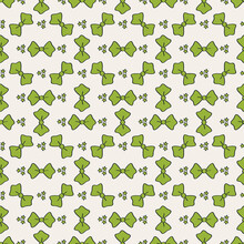 Seamless Vector Pattern With Green Bows And Stars