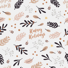 Christmas Seamless Pattern With Twigs.