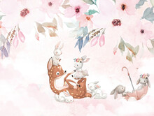 Fawn Playing With Rabbits On A Background Of Flowers, Children's Room Design