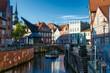 canvas print picture - Blick in die Altstadt und den historischen Hafen in Stade