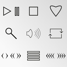 Vector Illustration On The Theme Music Buttons