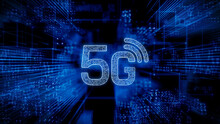 Wireless Technology Concept With 5G Symbol Against A Futuristic, Blue Digital Grid Background. Network Tech Wallpaper. 3D Render