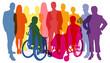 canvas print picture - Silhouetten von Menschen als Bevölkerung und Business Konzept