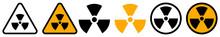 Set Of Radiation Hazard Signs. Radiation, Round And Triangular Signs. Radioactive Threat Alert. Radiation Area. Vector.