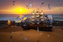 A Ship In A Bottle With Its Sails Breaking The Glass, Does Not Work Concept. 3D Illustration