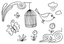 Card With Bird And Butterfly With Birdcage Hanging From Flower Branch On White Background.