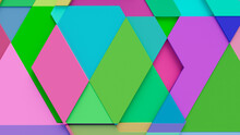 Multicolored, Tech Background With A Geometric 3D Structure. Bright, Minimal Design With Simple Futuristic Forms. 3D Render.