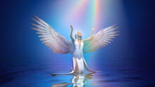 3d Illustration Blessed Light Pours From The Sky On An Angel