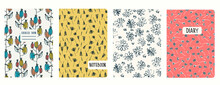 Set Of Cover Page Templates Based On Seamless Patterns With Burdocks And Wildflowers In Ditzy Style. Backgrounds For Notebooks, Notepads, Diaries. Headers Isolated And Replaceable