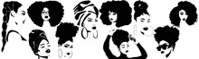 Set Of Beautiful Black Women With Afro Hair, Turban, Comb And Braids. African Girls Silhouette For Logo. Vector Template Black Sisterhood. Hairdresser Or Make Up Artist Template For Curly Hairstyles