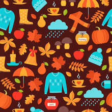 Autumn Seamless Pattern. Vector. Background With Fall Leaves.