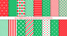 Xmas Seamless Pattern. Vector Illustration. Set Of New Year Backgrounds.