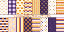 Halloween Seamless Pattern. Vector Illustration. Geometric Wrapping Paper.