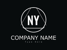 NY Ny Letter Design Logo Logotype Icon Concept With   Font And Classic Elegant Style Look Vector Illustration. NY Letter Logo Design Template Vector Illustration. NY Logo Letter Design For Busines