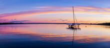 Trimaran Dry Docked On Brome Lake At Sunrise, Quebec Canada