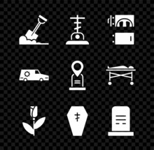 Set Shovel In The Ground, Grave With Cross, Crematorium, Flower Rose, Coffin, Tombstone, Hearse Car And Location Grave Icon. Vector