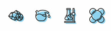 Set Line Test Tube Flask On Stand, Radioactive, And Molecule Icon. Vector