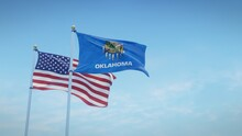 Waving Flags Of The USA And The US State Of Oklahoma Against Blue Sky Backdrop. 3d Rendering