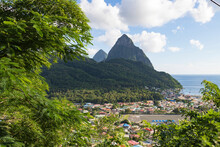 View Of Caribbean Town And Pitons In The Background
