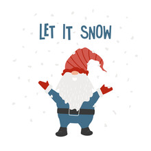 Gnome With Arms Up, Text Let It Snow, Abstract Snowflakes. Winter Happy Dwarf In Red Striped Hat, Blue Costume. Cute Myth Character. Greeting Card, Decoration, Print. Vector Illustration.