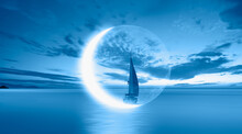 Lonely Yacht Sails On The Background Of The Crescent Or New Moon