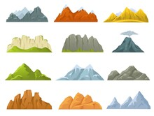 Cartoon Mountains Ridges, Rocky Cliffs, Snowy Peaks And Hills. Stone Cliff, Volcano, Hill, Mountain Nature Game Design Elements Vector Set. Rocky Landscape Of Different Shape, Traveling Concept