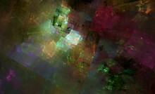 Abstract Fractal Art Background Of Fragmented Shapes, Suggestive Of A Cubist Painting.