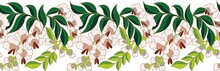 Vector Floral Chinese National Ornament, Border. Asian Seamless, Endless Pattern. Peach Flowers Represent Spring. Bright, Graceful And Sophisticated Reminiscent Of A Beauty's Face.