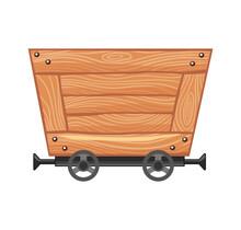 Wooden Empty Mine Cart. Cartoon Mine Trolley. Vector Design Illustration Isolated On White Background