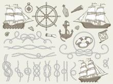 Decorative Marine Elements. Sea Rope Frames, Sailing Boat Or Nautic Ship Steering Wheel And Nautical Ropes Corners Vector Set