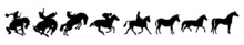 Horse Silhouettes.  Set Of Horses Silhouettes, Vector Illustration. Horse Vector