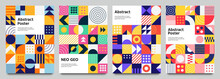 Colorful Neo Geometric Poster. Grid With Color Geometrical Shapes. Modern Abstract Promotional Flyer Background Vector Illustration Set