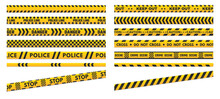 Caution Perimeter Stripes. Police Line For Crime Scenes Or Danger. Black And Yellow Do Not Cross And Keep Out