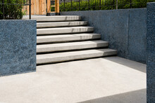 Outdoor Steps With Terrazzo Material. Flooring And Wall With Terrazzo Materials. Garden Decoration.