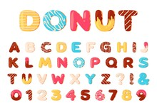 Donuts Alphabet. Sweet Doughnut Font Letters And Numbers With Icing Cream. Cartoon Baked And Chocolate Glazed Type. Dessert Abc Vector Set