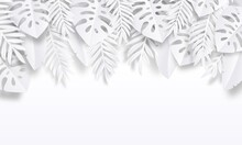 Paper Cut Tropic Background. Summer Trendy Poster With Exotic Leaves, Summer Vacation Backdrop. Vector Nature Wallpaper