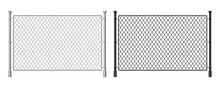 Metal Wire Fence. Realistic Steel Dark And Light Fence, Industrial Metal Wire Mesh, Prison Security Urban Railing. Vector Steel Greed