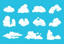 Cartoon Clouds. Sky Atmosphere Blue Heaven 2D Vintage Fluffy Symbol Clean Flat Shape Cloudy Graphic. Vector Cartoons Set