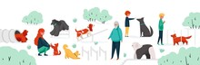 People With Pets At Park. City Park Area With Cartoon Characters Training Their Home Animals. Vector Outdoor Activity With Dogs