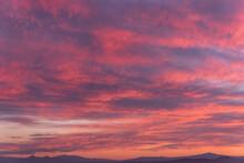 Fiery Orange Sunset Sky. Beautiful Sky. Mountain Landscape