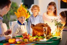 Thanksgiving Family Dinner. Roasted Turkey Meal.