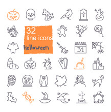 Linear Icons With Traditional Halloween Symbols. Vector Icons