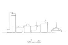 Single Line Drawing Visit Amarillo City Skyline, Texas. World Beauty Town Landscape Art. Best Holiday Destination Postcard. Editable Stroke Trendy Continuous Line Draw Design Vector Illustration